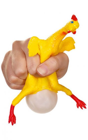 egg laying rubber chicken
