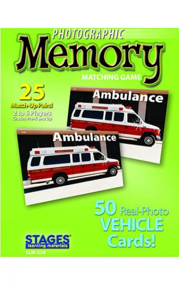vehicles memory card game