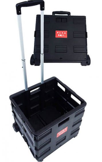 Pack and Roll Folding Shopping Trolley Cart Crate