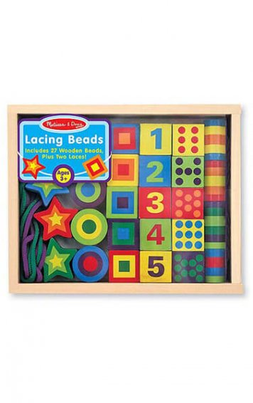 lacing beads in a box